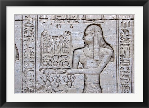 Framed Queen Cleopatra and Stone Carved Hieroglyphics, Egypt Print
