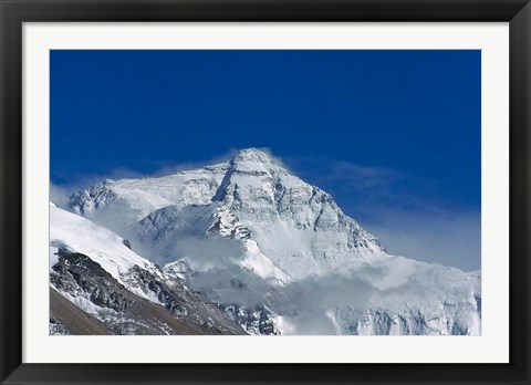 Framed Snowy Summit of Mt. Everest, Tibet, China Print