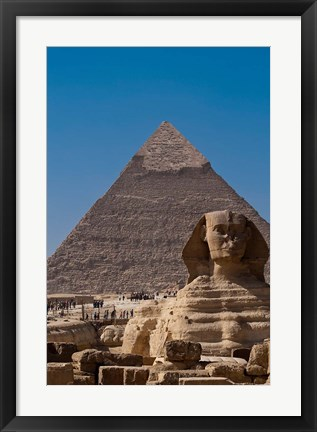 Framed Sphinx and Pyramid, Giza, Egypt Print