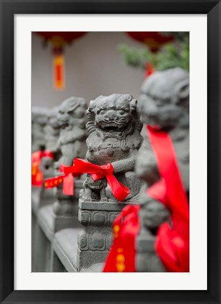 Framed Stone lions with red ribbon, Jade Buddah Temple, Shanghai, China Print