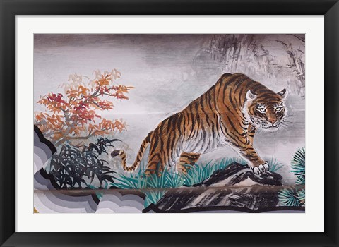 Framed Tiger Painting on Outdoor Corridors, Zhongshan Park, Beijing, China Print