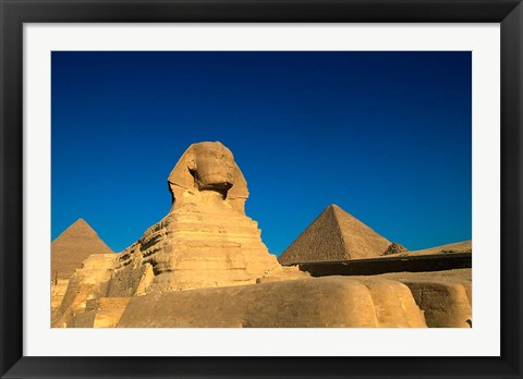 Framed Sphinx, Pyramids at Giza, Egypt Print