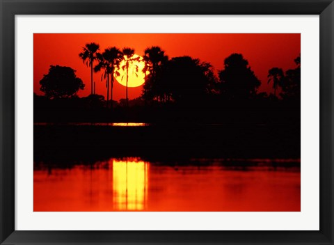 Framed Tropical Sunset in North Central Botswana Print