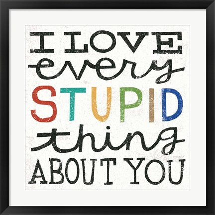 Framed I Love Every Stupid Thing About You Print