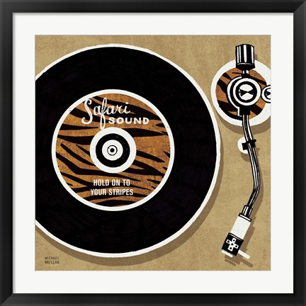 Framed Analog Jungle Record Player Print