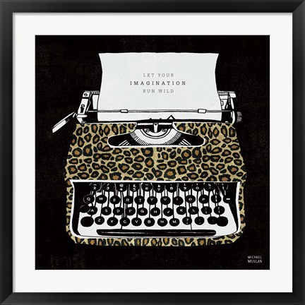Framed Analog Jungle Typewriter Print