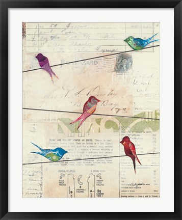 Framed Birds on a Wire no Border Print