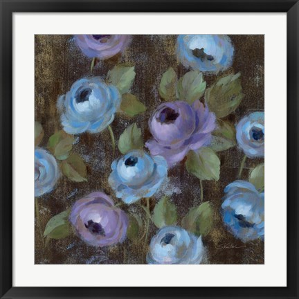 Framed Blue Damask II Print