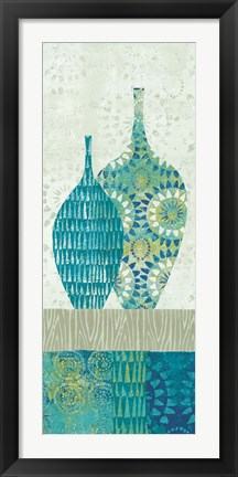 Framed Blue Spice Stripe Panel I Print