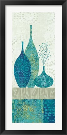 Framed Blue Spice Stripe Panel II Print