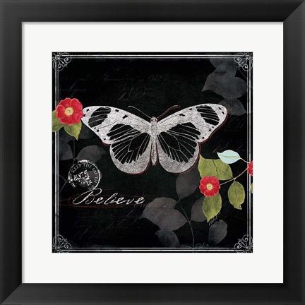 Framed Chalkboard Wings II Print