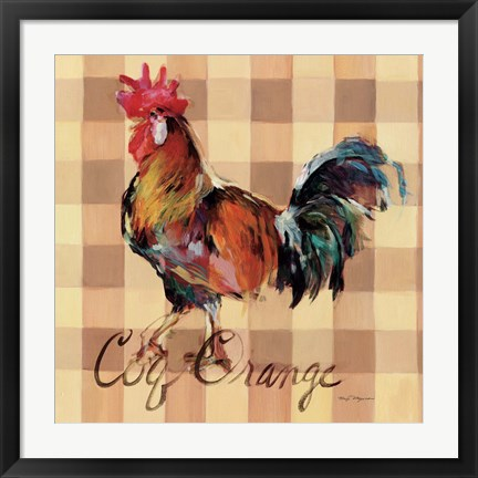 Framed Coq Orange Print