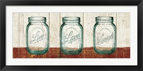 Framed Flea Market Mason Jars Panel II Table Print