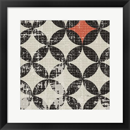 Framed Geometric Patchwork Puree Pumpkin Square V Print