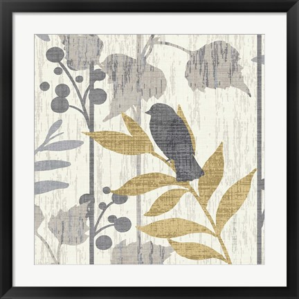 Framed Garden Leaves Square VI Print