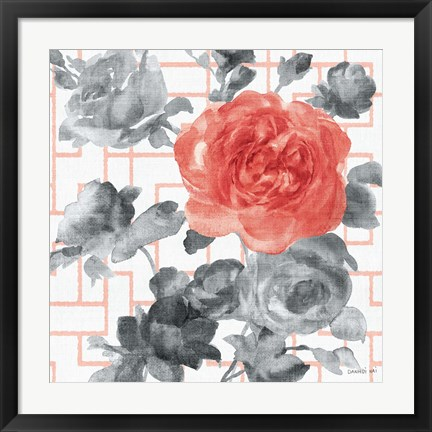Framed Geometric Watercolor Floral I Print