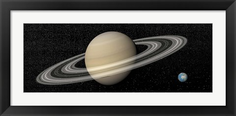 Framed Large planet Saturn and its rings next to small planet Earth Print