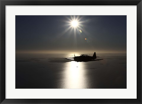 Framed silhouette of North American T-6 Texan warbird in Swedish Air Force colors Print
