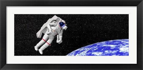 Framed Astronaut floating in outer space above planet Earth Print