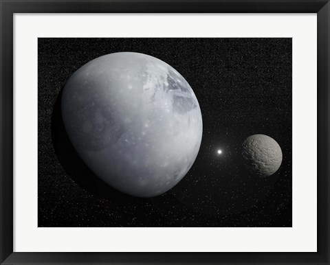Framed Pluton, its big moon Charon and the Polaris star Print