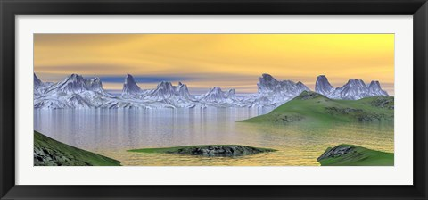 Framed Beautiful sunset over landscape with green grass and rocky mountains Print