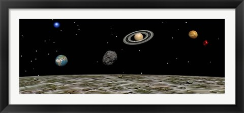 Framed View of the universe and planets as seen from a distant moon Print
