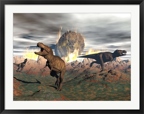 Framed Tyrannosaurus Rex dinosaurs escaping a big meteorite crash Print