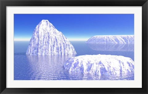 Framed Three icebergs in ocean by daylight Print