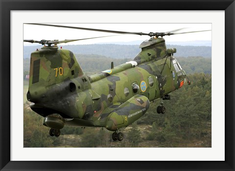 Framed CH-46 Sea Knight helicopter of the Swedish Air Force Print