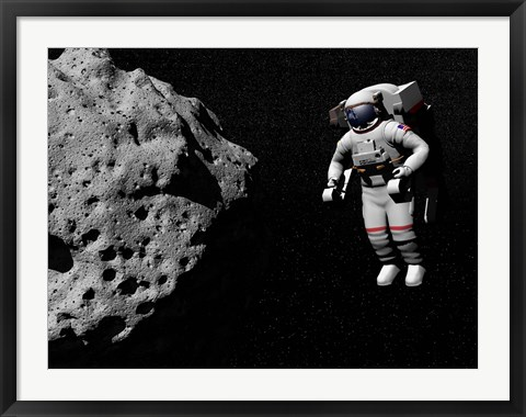 Framed Astronaut exploring an asteroid in outer space Print
