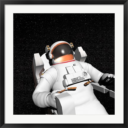 Framed Astronaut floating alone in the dark space surrounded with stars Print