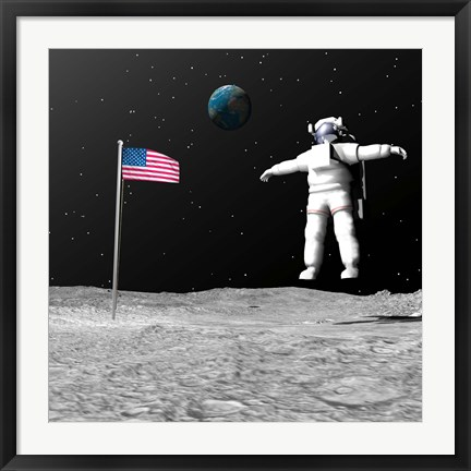 Framed First astronaut on the moon floating next to American flag Print