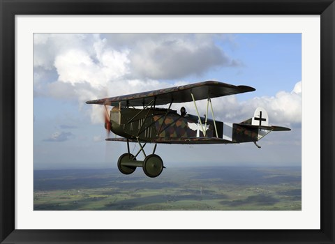 Framed Fokker DVII World War I replica fighter in the air Print