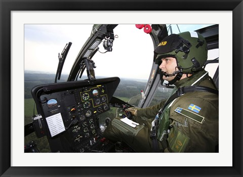 Framed Inside the MBB Bo 105 helicopter of the Swedish Air Force Print