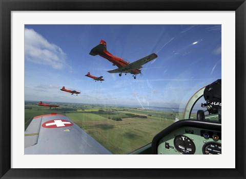 Framed Inside the Pilatus PC-7 turboprop trainer of the Swiss Air Force display team Print
