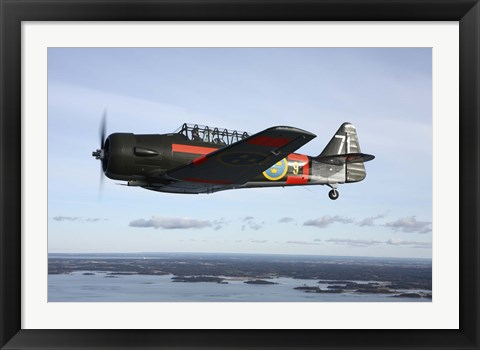Framed North American Aviation T-6 Texan trainer warbird in Swedish Air Force colors Print
