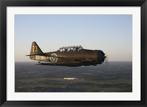 Framed North American T-6 Texan trainer warbird in Swedish Air Force colors Print
