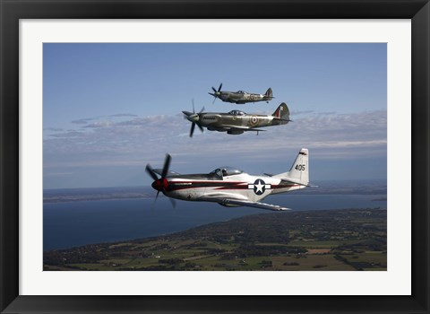 Framed P-51 Cavalier Mustang with Supermarine Spitfire fighter warbirds Print