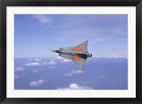Framed Saab 35 Draken fighter of the Swedish Air Force Historic Flight Print