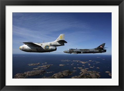 Framed Saab J 29 and Hawker Hunter vintage jet fighters of the Swedish Air Force Historic Flight Print