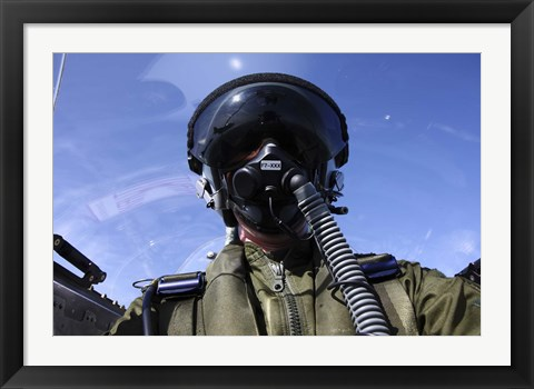 Framed Self-portrait of a pilot flying in a Saab J 32 Lansen Print