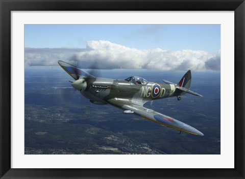 Framed Supermarine Spitfire MkXVI fighter warbird of the Royal Air Force Print