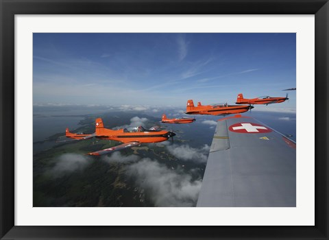 Framed Swiss Air Force display team, PC-7 Team, flying the Pilatus PC-7 turboprop trainer aircraft Print