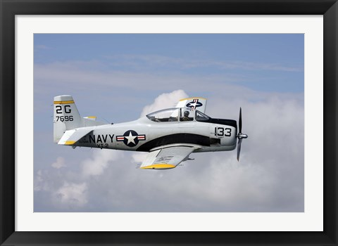 Framed T-28 Trojan trainer warbird in US Navy colors Print