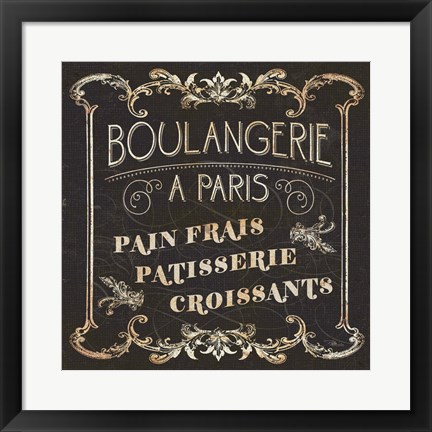 Framed Parisian Signs Square I no Border Print