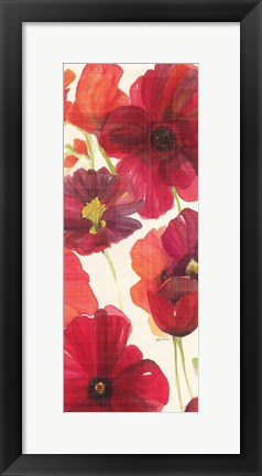 Framed Red and Orange Poppies II Crop I Print