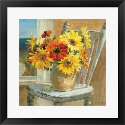 Framed Sunflowers by the Sea Crop Print