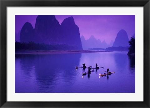Framed Cormorant Fisherman on Li River, China Print