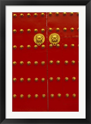 Framed Red Gates by Forbidden City, Beijing, China Print