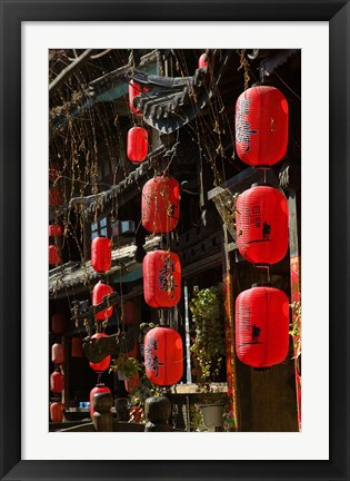 Framed Old Town red lanterns outside restaurants, Xinhua Jie Street, Lijiang, Yunnan Province, China Print